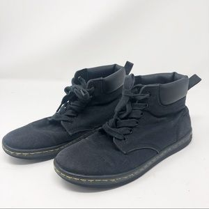 DR. MARTENS   Maelly Black Canvas Boots Shoes 7